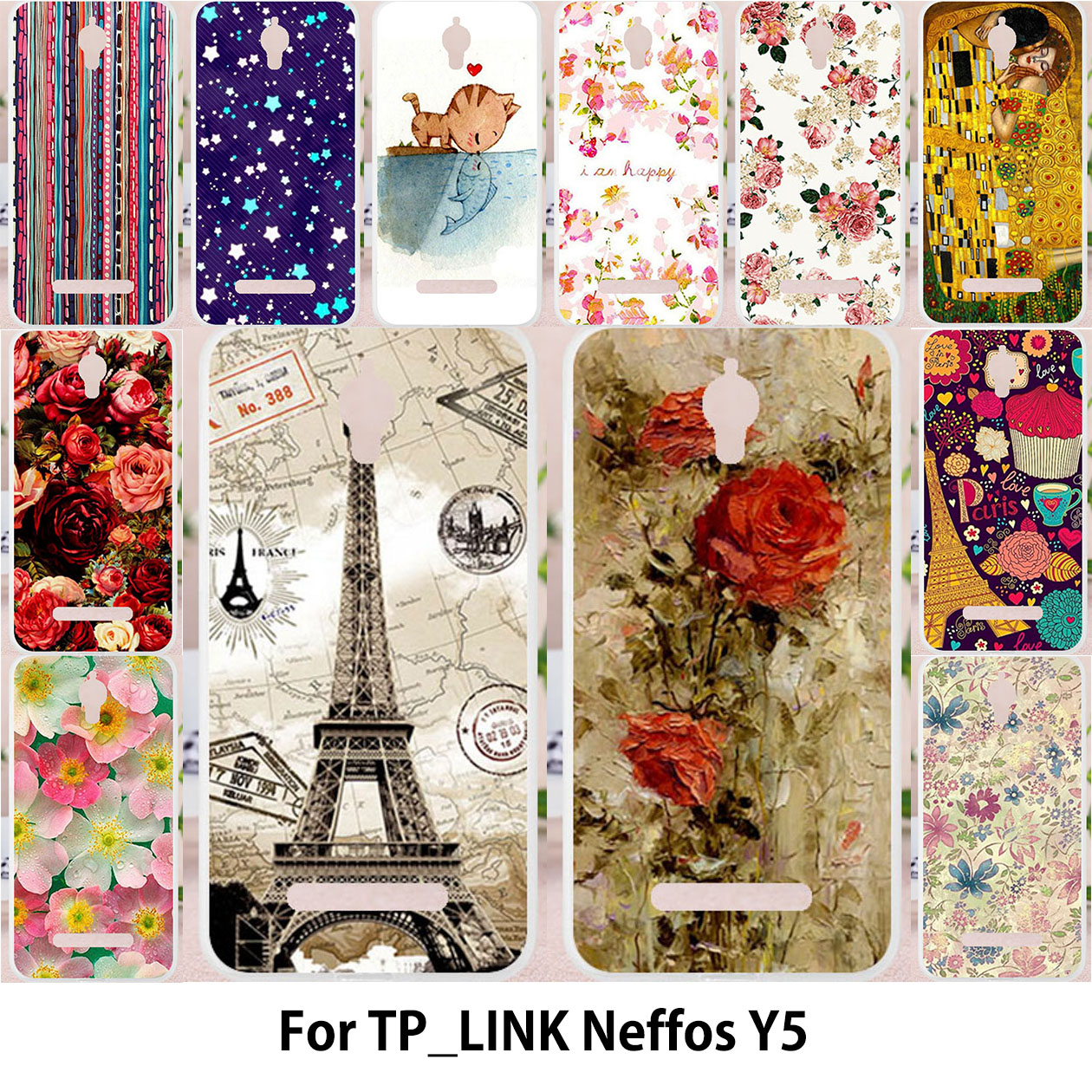 TAOYUNXI For TP-LINK Neffos Y5 TP802A case Silicone Case For TPLINK Neffos Y5 TP LINK Cover Dream Flower Batterfly Tower