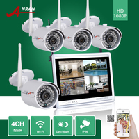 ANRAN P2P 4CH 1080P 12 LCD Monitor WIFI NVR 36IR Waterproof Network Wireless IP Camera Security
