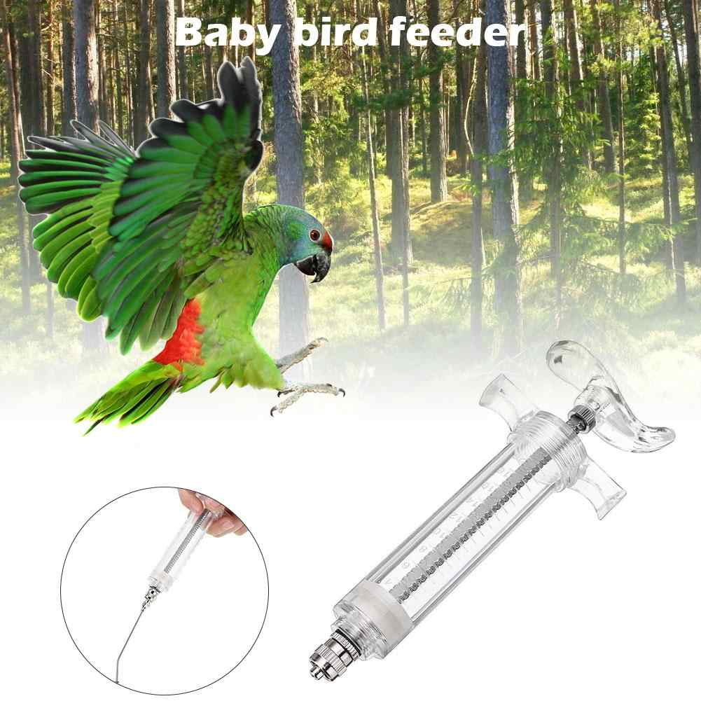 Profesional Parrot Burung Feeder Akrilik Stainless Steel Jarum Suntik Gaya Tahan Suhu Tinggi Bayi Burung Pengumpan