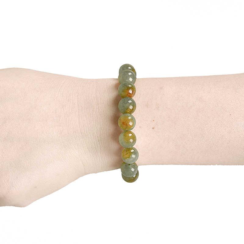 สีเป็นสีเขียวเป็นสีเขียวและจุดสีเหลืองลูกปัดเจ็ดสีสังเคราะห์ Jasper สร้อยข้อมือสาวทุกวัย