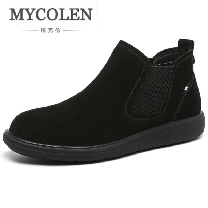 MYCOLEN Suede Leather Autumn Winter Men Chelsea Boots Luxury Brand Black Men's Boots Male Brand Ankle Boots Chaussure Homme