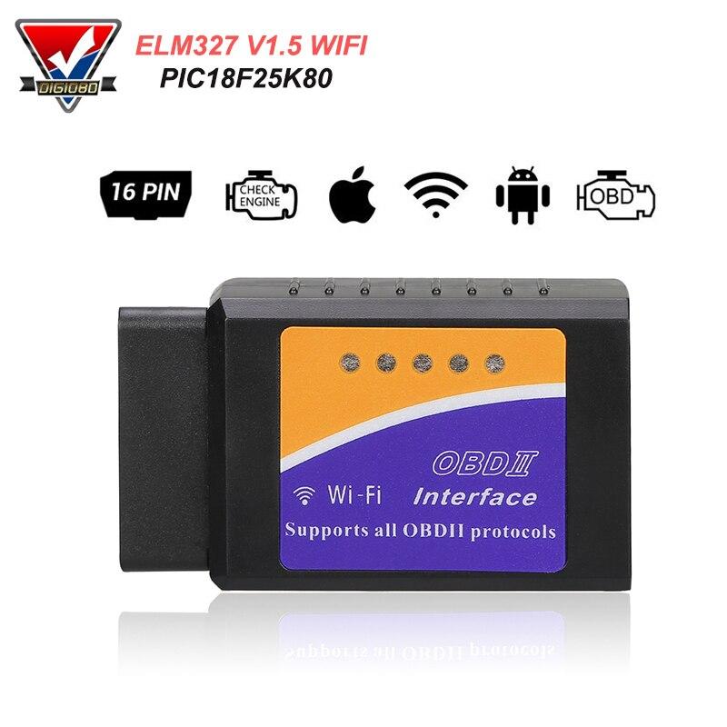 PIC18F25K80 ELM327 WIFI V1.5 OBD2 סורק רכב תקלת קוד Reader OBDII Scaner מתאם אוטומטי אבחון סריקת כלי עבור IOS אנדרואיד