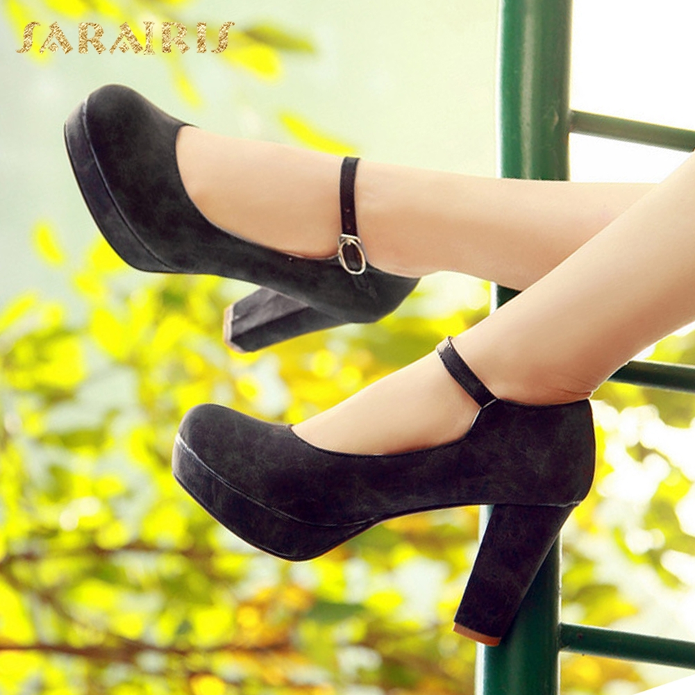 SARAIRIS 2018 Large Size 34-43 Spring Women Pumps Buckle Strap Shoes Woman High Heels Platform Office Lady Mary Janes Pumps