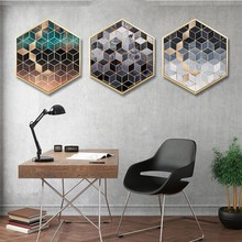 Nordic INS living room geometry Abstract style decorative mural hexagon creativity Hotel sofa background wall paintings