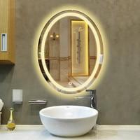 Овальная светодио дный лампа зеркало настенный подвесной ванная комната с подсветкой макияж зеркало современный сенсорный выключатель дл