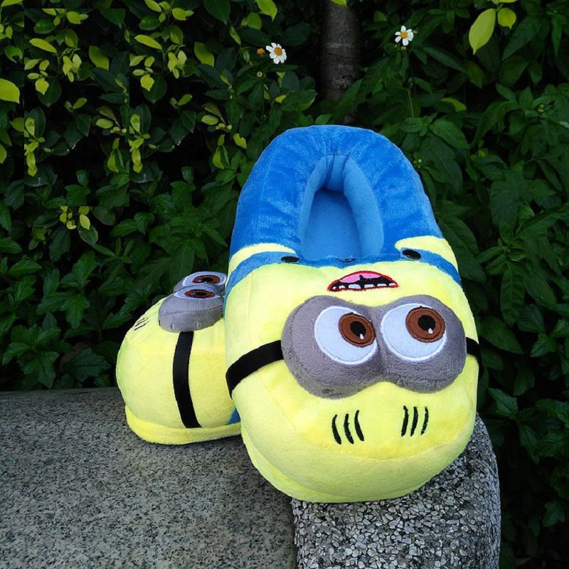3D minions slippers woman Winter Warm slippers Despicable Minion Stewart Figure Shoes Plush Toy Home Slipper