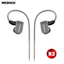 NICEHCK N3 In Ear Earphone Piezoelectric Ceramics Carbon Nanotube Hybrid 3 Unit HIFI Earbud Headset Metal MMCX Detachable Cable