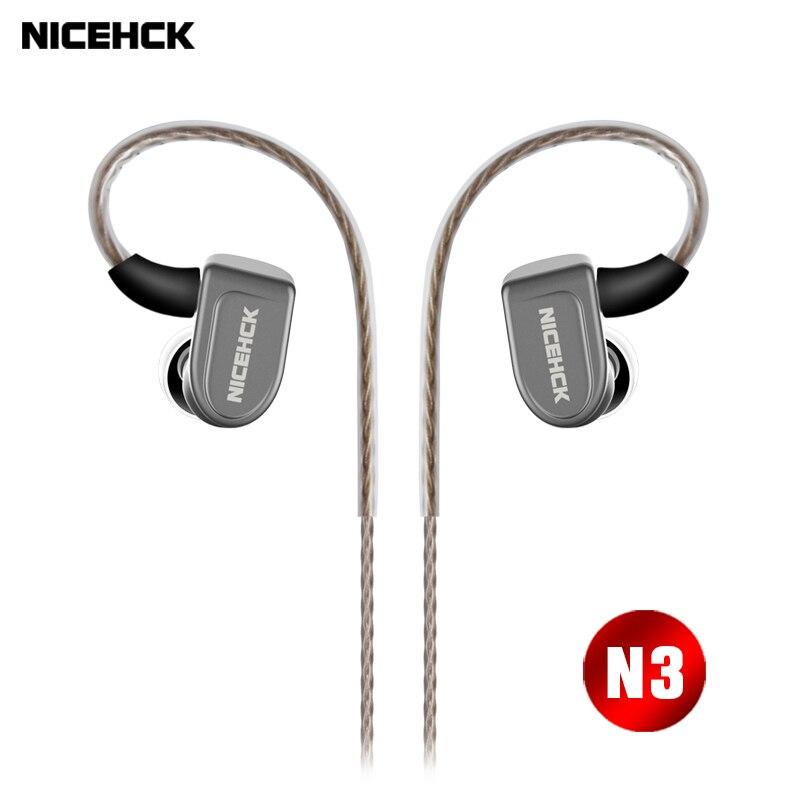 Tüketici Elektroniği'ten Telefon Kulaklıkları ve Radyo Kulaklıkları'de NICEHCK N3 Kulak Kulaklık Piezoelektrik Seramik Karbon Nanotüp Hibrid 3 Birim HIFI Kulaklık Kulaklık Metal MMCX Ayrılabilir Kablo
