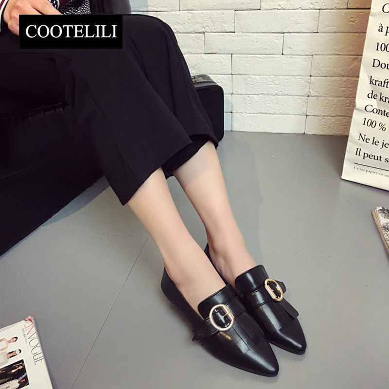 COOTELILI 35-39 Spring Casual Flats Slip-On Women Single Shoes Metal Soft Leather Pointed Toe Solid Lazy Loafers Ladies Shoes spring summer women flat ol party shoes pointed toe slip on flats ladies loafer shoes comfortable single casual flats size 34 41