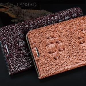 Image 5 - Wangcangli funda de teléfono de cuero genuino con tapa textura trasera de cocodrilo para Xiaomi Redmi Note3 funda de teléfono hecha a mano