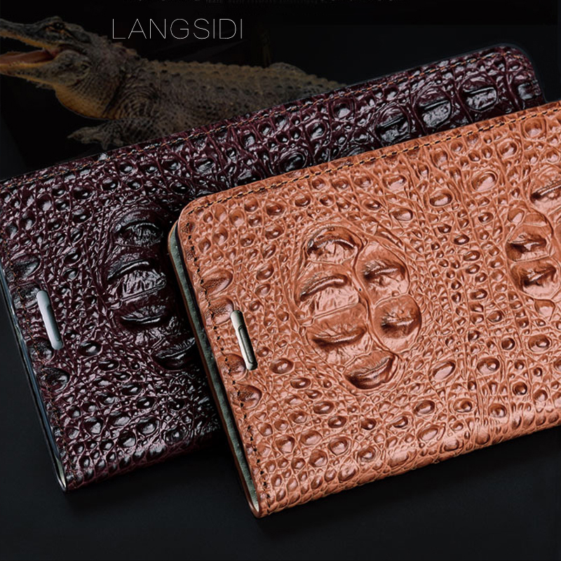 Image 5 - wangcangli genuine leather flip phone case Crocodile back texture For Xiaomi Redmi Note3 All handmade phone case-in Flip Cases from Cellphones & Telecommunications