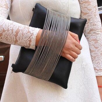 Big 2017 women clutch bag black envelope clutch purse evening clutch bags for girl women leather handbags wedding day clutch