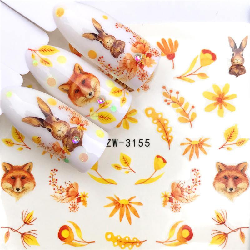 LCJ 1 шт стикер для ногтей с водной наклейкой животное цветок растение шаблон 3D Маникюр Стикер дизайн ногтей украшение - Цвет: YZW-3155