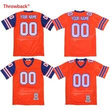 Retrocesso Camisa De Futebol Americano dos homens Jersey Personalizado  Qualquer Nome de Qualquer Número de Laranja c53e1b3277e28
