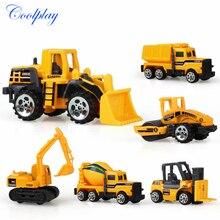 Coolplay мини литая модель автомобиля инженерные игрушечные транспортные средства самосвал погрузчик экскаватор модель автомобиля мини подарок для детей мальчиков}