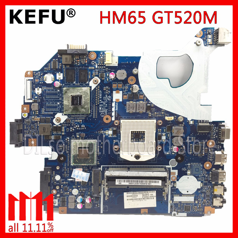 KEFU P5WE0 LA-6901P motherboard for acer 5750 5750G 5755 laptop motherboard HM65 GT520M original Test motherboard цена