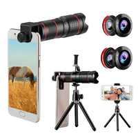 Kit de lentes de telefoto de cámara lente de doble regulación + cuatro lentes impresionantes + trípode de foto de Clip Universal para Huawei para Sony smartphone