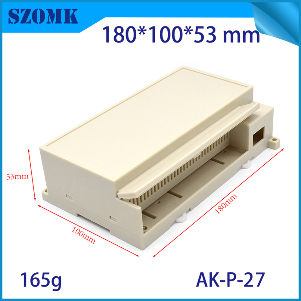 abs plastic din rail mount junction box for industrial project 180x100x53mm terminal block din rail abs enclosures szomk housing 1 piece free shipping hot sell plastic din rail enclosures with terminal block abs case housing for pcb design 115x90x40mm