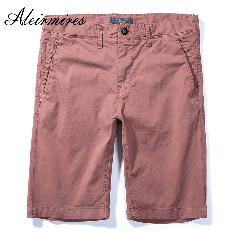 Aleirmires Men Pink Chino Shorts 2018 Summer New Knee Length Cotton Straight Plus Size Male Solid Color Classic Regular Shorts ...
