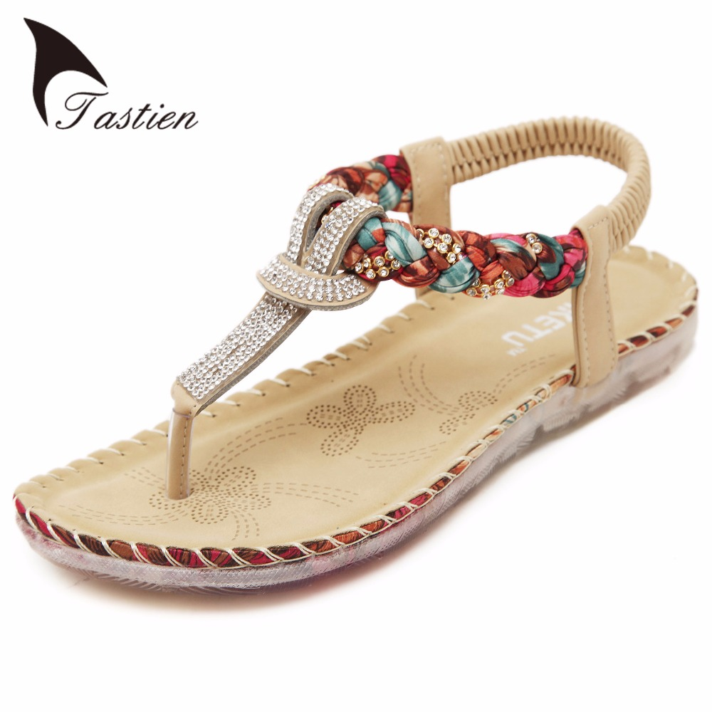 Sandals shoes summer - 2017 Hot Sales Women Summer Sandals Ethnic Bohemian Fashion Crystal Pu Printed Sexy Beach Sandals Shoes