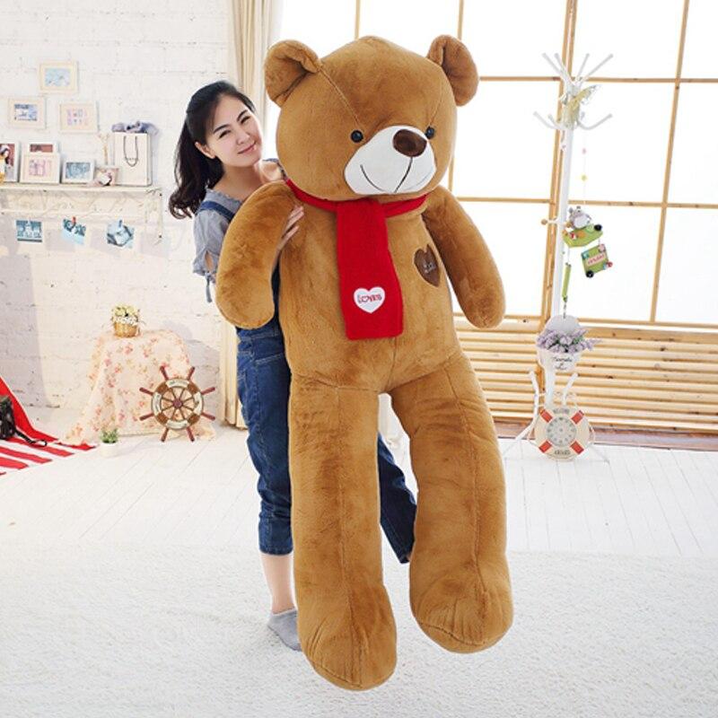 Doux ours en peluche géant en peluche avec écharpe 120 cm 140 cm 160 cm 180 cm Kawaii gros ours poupées pour enfants grand oreiller
