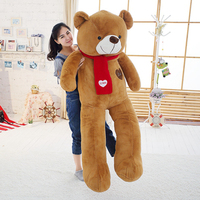 Soft Giant Teddy Bear Stuffed Animal Plush Toy with Scarf 120cm 140cm 160cm 180cm Kawaii Big Bears Dolls For Kids Large Pillow