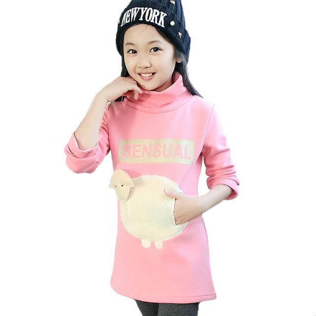 Niños 2015 otoño y el invierno de la moda, además de terciopelo niñas Coreano cordero de algodón de mangas largas y largas secciones