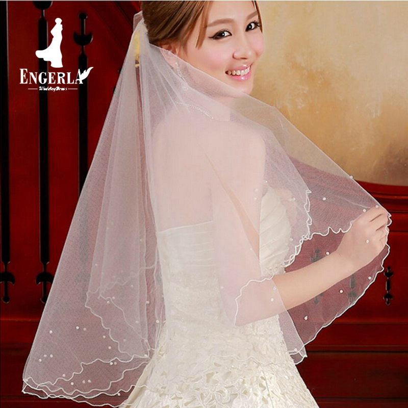 Pearl Beads Bridal Veil Wedding Accessories One Layer 1.5 M Length Vintage Bride Veil Without Comb Cathedral Dress Veils(China (Mainland))