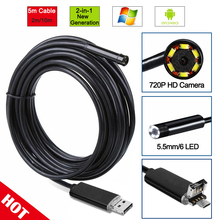 R&N 2In1 2/5/10M PC Android Endoscope 5.5mm Len USB Endoscope Camera Waterproof Inspection Borescope Micro OTG USB Car Endoscope
