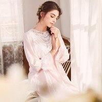 Court Princess Elegant Pink Sleepdress Spring Autumn Lace Sleepwear Long Sleeve O Neck Nightgown Cotton Nightdress Negligee