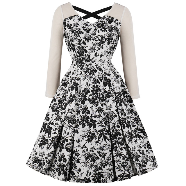 ed7e78db04e24 Kenancy Plus Size 3xl 4xl Spring Autumn Lace Long Sleeves Vintage Dress  Audrey Hepburn 60s Criss Cross Back Retro Party Vestidos