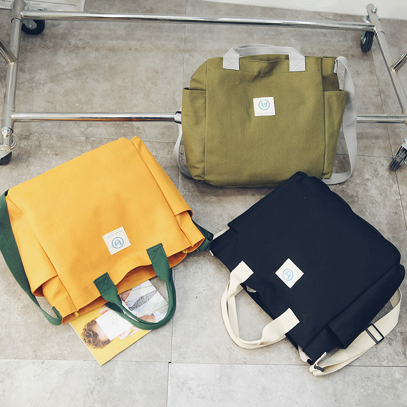 Japan Three Color Hand Canvas Bag Cloth Oblique Cross Package Solid Color Handbags