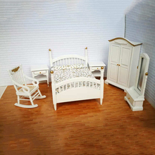 Современный 1/12 шкала цветочный кровать белый шкаф стул туалетный зеркальный шкаф комплект для кукольного домика спальни сцены жизни украшения
