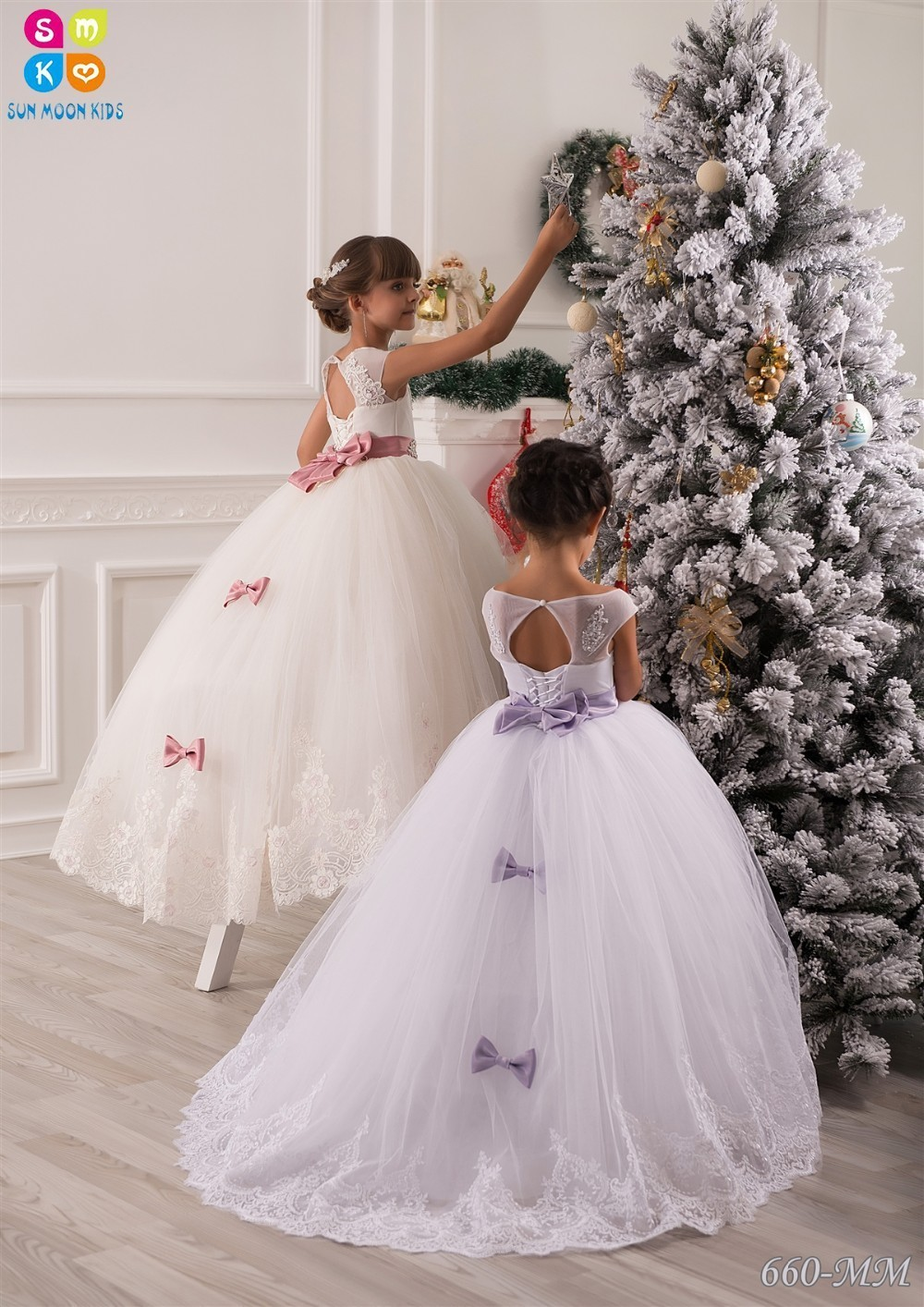 Flower Girl Dresses For Wedding Lace Appliques Beads Puffy Girls Pageant Gowns Hollow Lace Up Bowknot Sash Birthday Dresses casual bowknot lace up jazz hat