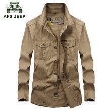 AFS JEEP Plus size M-5XL 2016 Autumn men military casual brand army green long sleeve shirt spring man 100% cotton khaki shirts