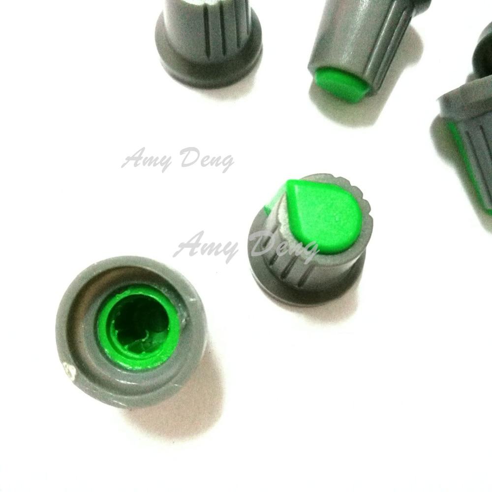 100pcs/lot Potentiometer cap type plastic knob cap 15*17 serrated aperture 6MM green and grey