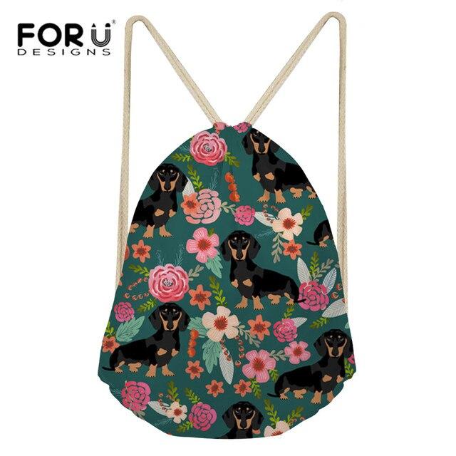 468ed5288f FORUDESIGNS Sport Bag Drawstring Bag Women s Backpack Cute Dachshund Dog  Printed Gym Sack Yoga Bag for Women Fitness Beach Bags