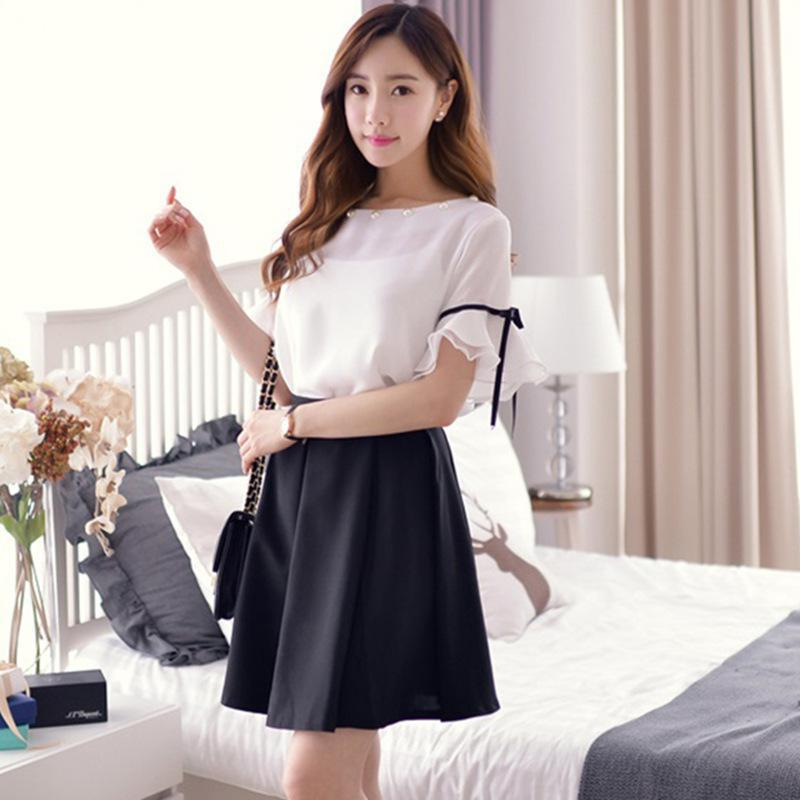 Women 2 Piece Set Dress White And Black Beautiful Korean