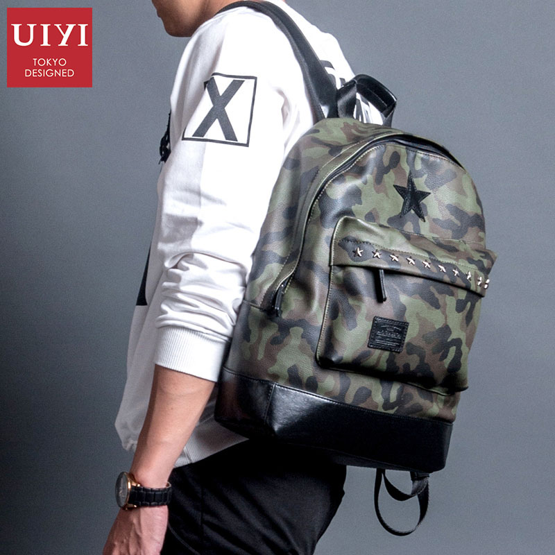 UIYI Men Backpacks New Design PU Camouflage Bags Waterproof Backpack Fashion Travel Bag Casual Multifunctional Bag For Teenager uiyi brand new men backpack black waterproof backpack fashion pu leather travel bag casual school bag for teenagers 2018