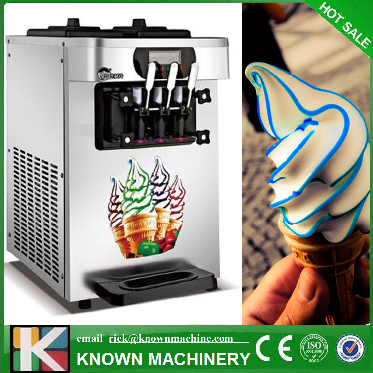 The Hot Sale Table Top Mini Soft Ice Cream Vending Machine 3 Flavors Ice Cream Making With Free Shipping By Sea