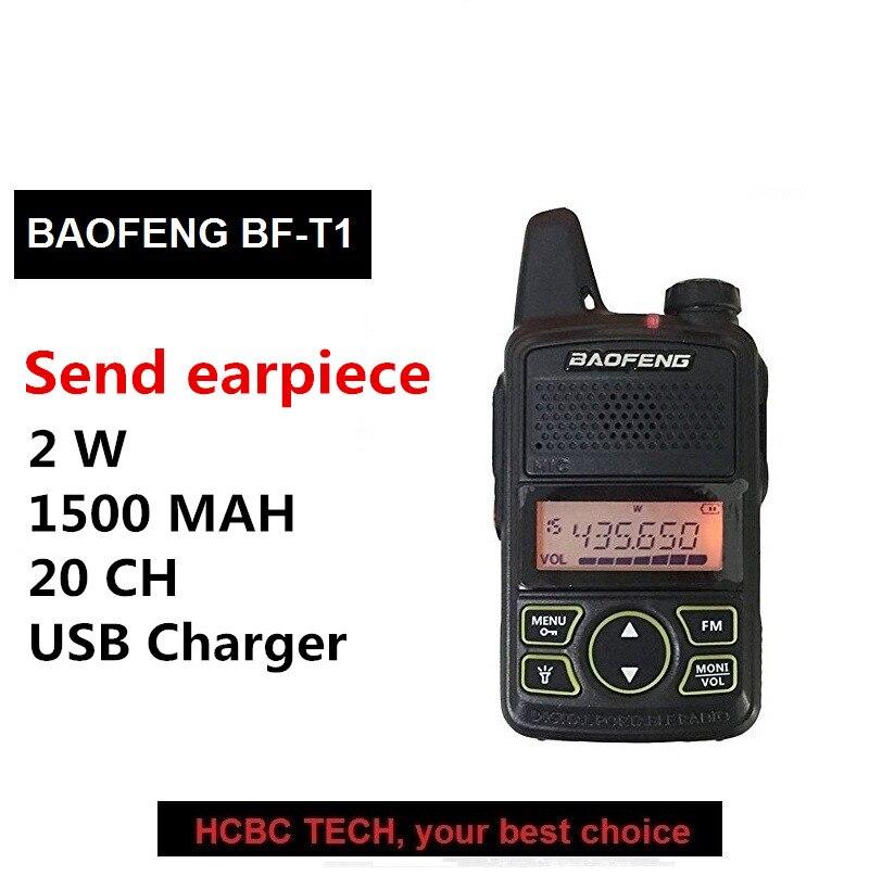 1 pcs 100% D'origine BAOFENG BF T1 MINI Portable à Deux Voies Radio BF-T1 UHF 20 Canal 1500 mah Jambon Émetteur-Récepteur CB Radio + Écouteur
