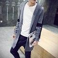 2016 Осенью Новый мужская С Длинным StyleKnitted Кардиган Поперечной Полосой Дизайн Высокое Качество Свитера Slim Fit С Капюшоном Sweatercoat