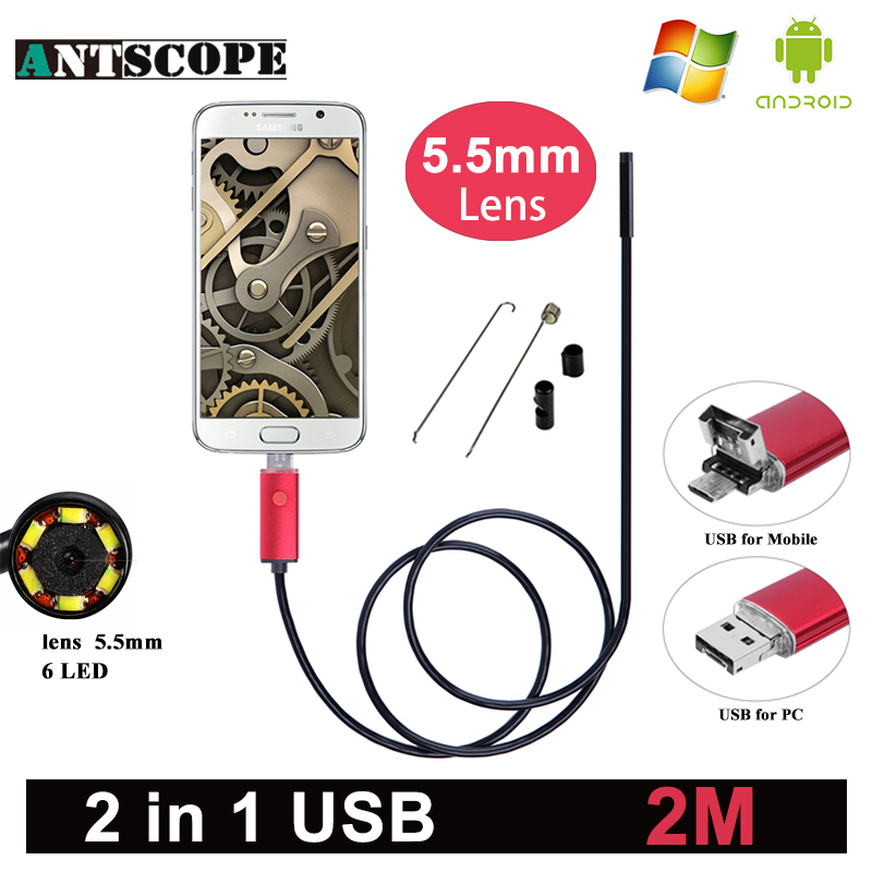 Antscope 5.5mm Lens Android Endoscope HD USB Android Endoscopic Mini Camera Inspection Android 2M Borescope USB Endoskop Camera 7mm lens mini usb android endoscope camera waterproof snake tube 2m inspection micro usb borescope android phone endoskop camera