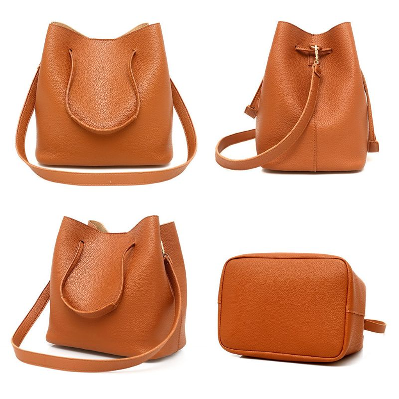 4 Pcs / 1 Set Women Lady PU Leather Handbag Polyester Shoulder Bags Tote Purse Messenger Satchel