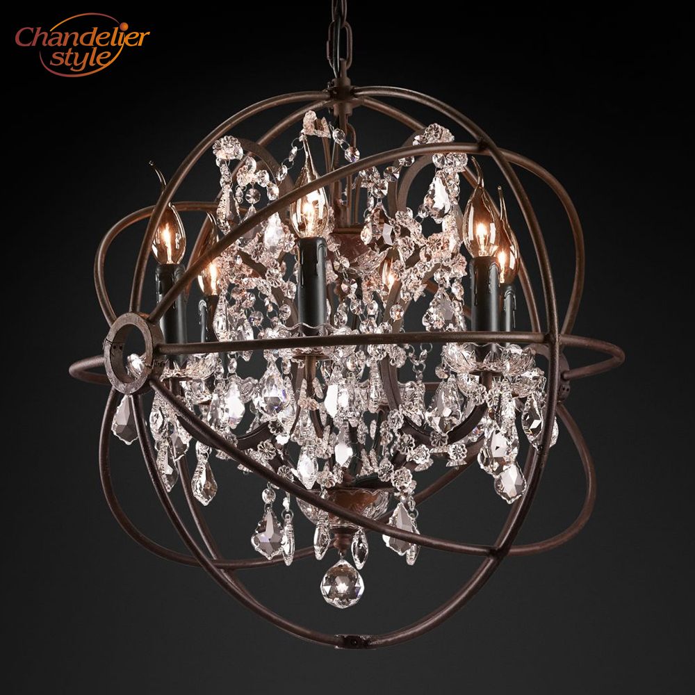Image 3 - Foucaults Orb Clear Crystal Chandelier Lighting Rustic Candle Chandeliers LED Pendant Hanging Light for Living Dining Room-in Chandeliers from Lights & Lighting