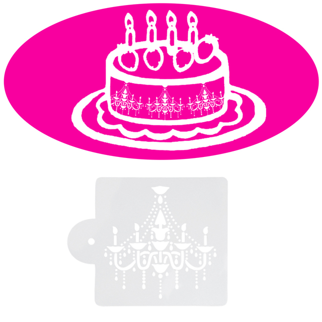 3pcs Lot Fondant Cake Decorating Tools Beautiful Chandelier Stencil Crystal Design Mould For