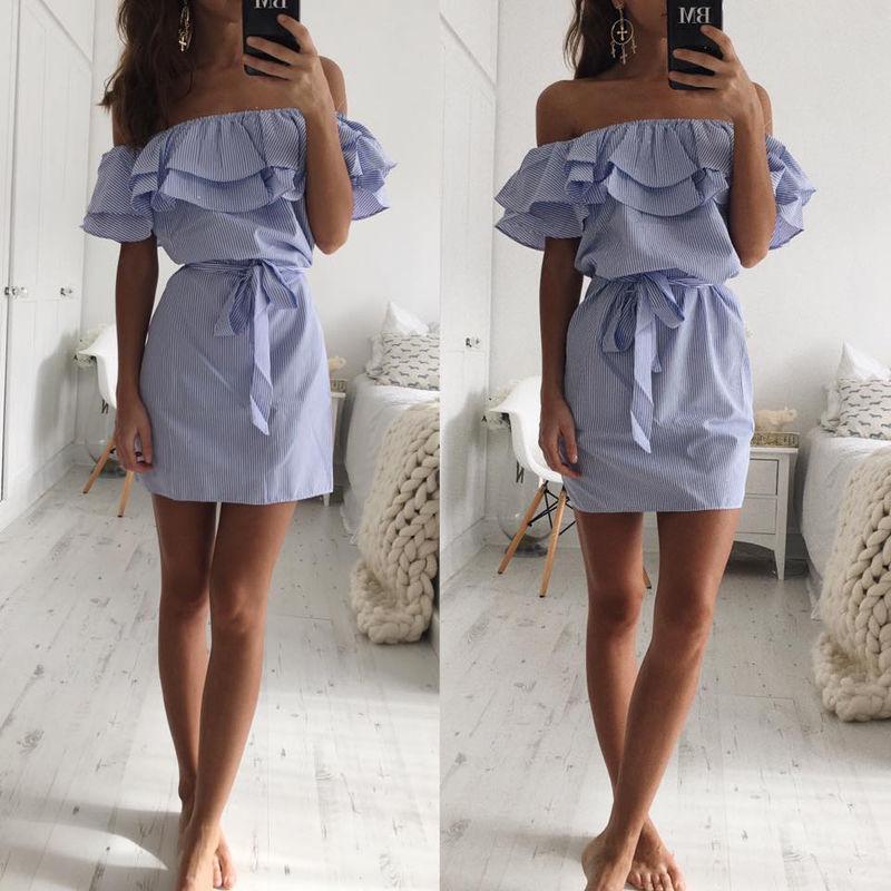 1e64c6883eb2 Off Shoulder Strapless Striped Ruffles Dress Women 2018 Summer Sundresses  Beach Casual Shirt Short Mini Party Dresses Robe Femme