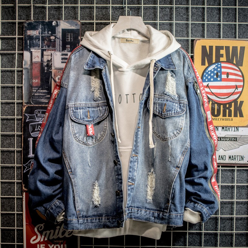 BORRUICE Casual Bomber Jacket Hip Hop Men\'s Retro Denim Jacket Streetwear 2019