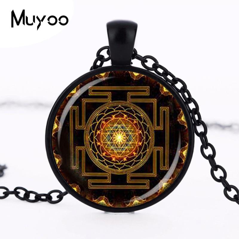 Steampunk Sri Yantra Mandala Glas Dome Hängsmycke Halsband DIY Handgjorda Mode Buddhist Heliga Geometri Smycken Charm Trendig HZ1