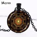 Steampunk Sri yantra mandala Glass Dome Pendant Necklace DIY Handmade Fashion Buddhist Sacred Geometry Jewelry Charm Trendy HZ1